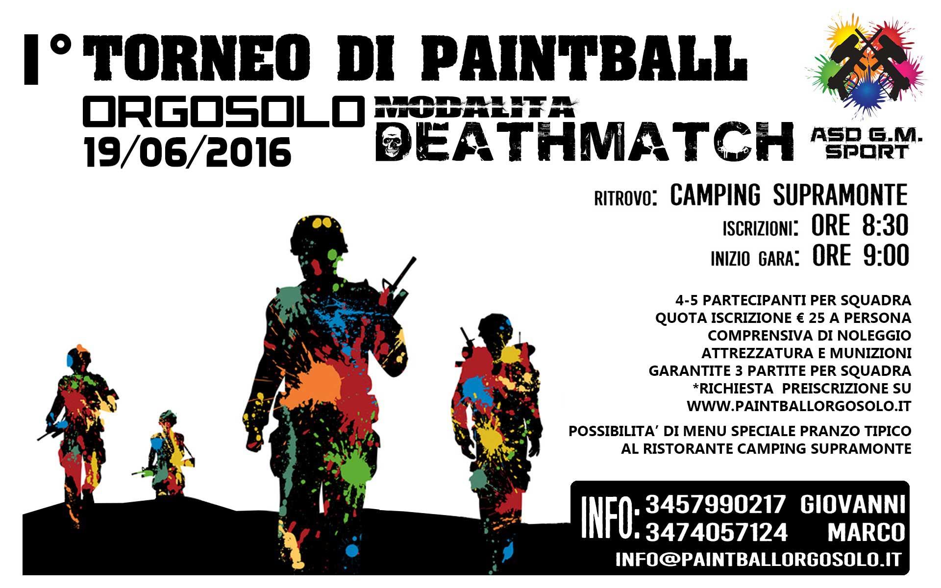 Manifesto torneo paintball Sardegna, ad Orgosolo